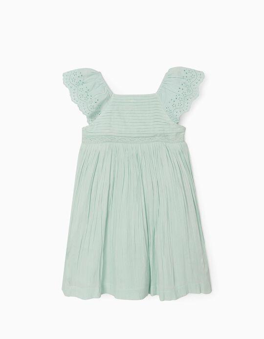 Vestido Plissado para Menina, Verde Menta