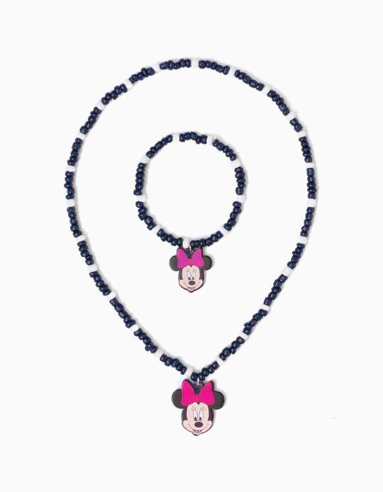 Collar y Pulsera de Cuentas para Niña 'Minnie', Azul Oscuro