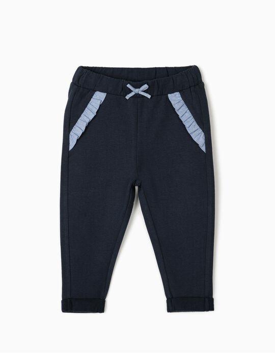 Pantalón de Chándal para Bebé Niña, Azul Oscuro