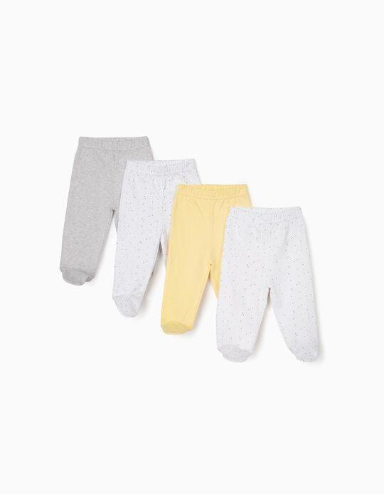 4 Pairs of Footed Trousers for Newborn Baby Boys, Yellow/Grey/White