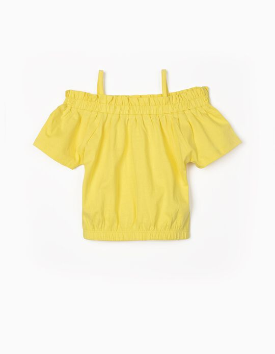 T-shirt for Girls, Elasticated Trim, Yellow