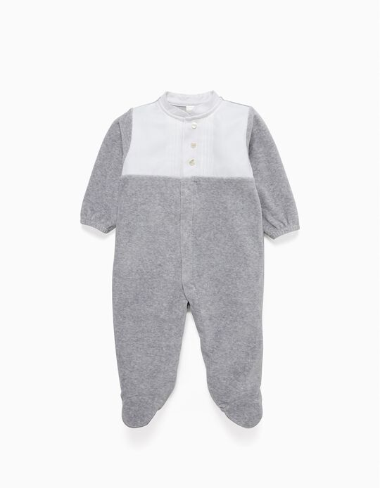 Velvet Sleepsuit with Bow, Grey