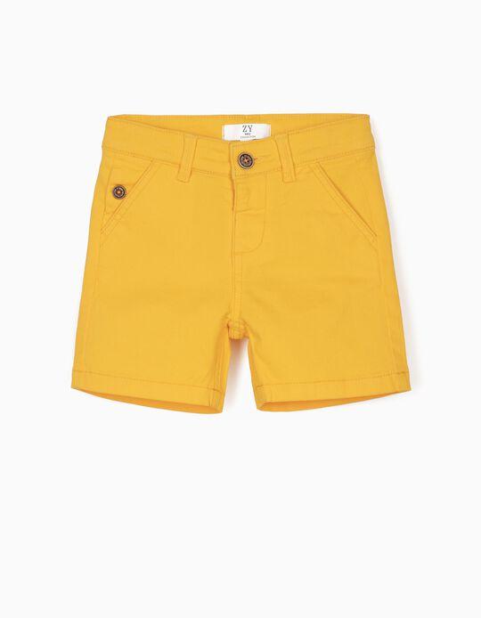 Short de Sarga para Bebé Niño, Amarillo