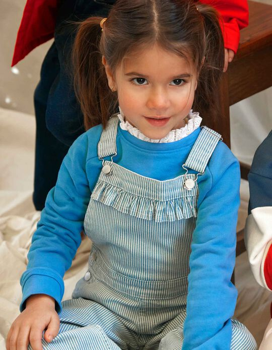Striped Dungarees for Girls, Blue