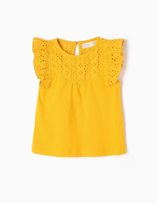 T-shirt com Bordados Amarela