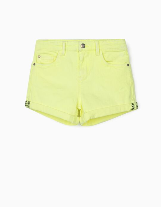 Twill Shorts for Girls 'Cosmic World', Fluorescent Yellow