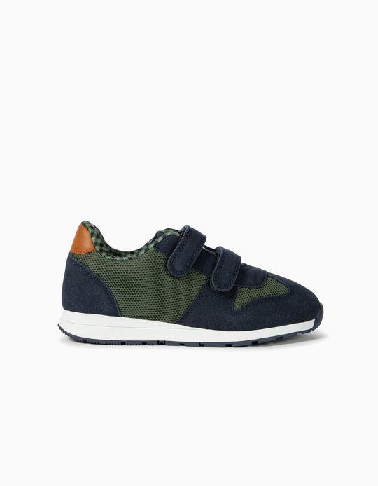 Zapatillas de Dos Materias para Niña 'ZY', Azul y Verde