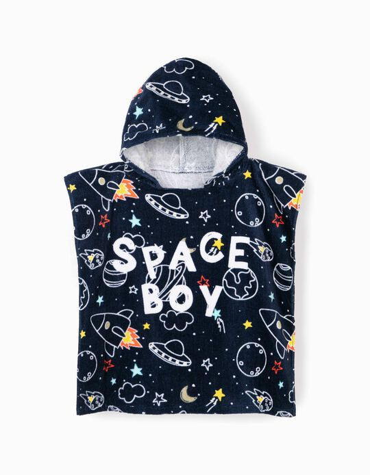 Poncho de Playa para Niño 'Space Boy', Azul Oscuro