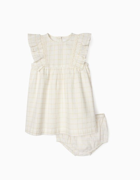 Dress with Bloomer Shorts for Baby Girls, White/Gold