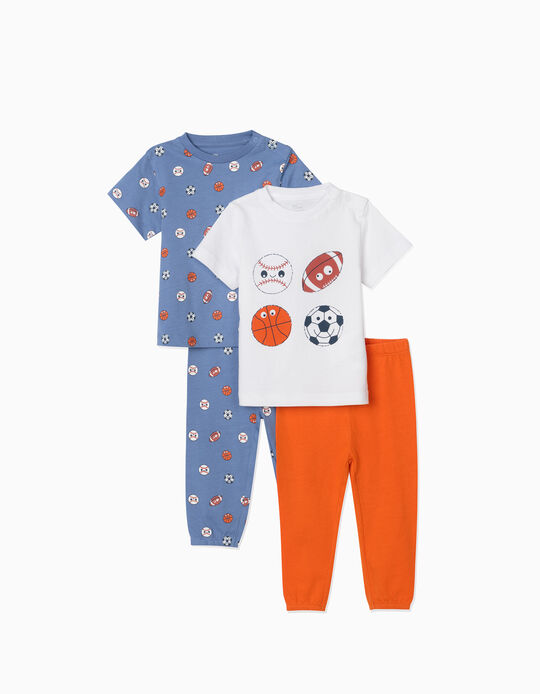 2 Pijamas Manga Corta para Bebé Niño 'Sports', Azul/Blanco/Naranja
