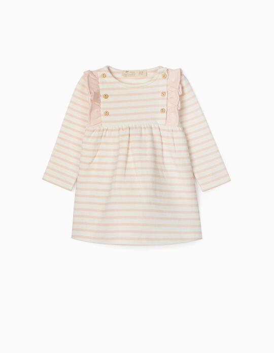 Striped Dress for Newborn Baby Girls, White/Pink
