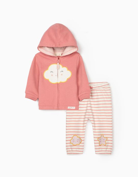 Tracksuit for Newborn Baby Girls, 'Little Cloud', Pink/White