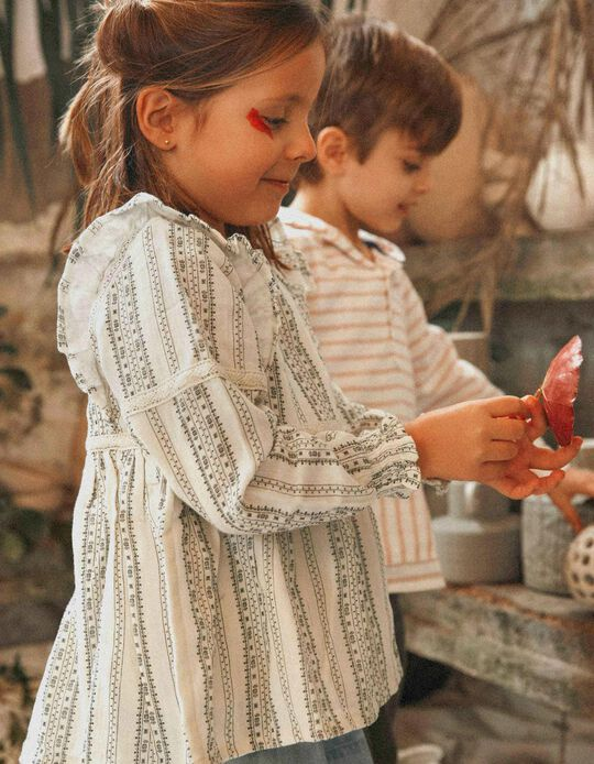 Printed Blouse for Girls, White