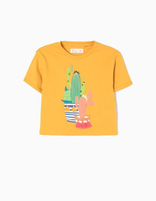Camiseta Corta Cactus Amarilla