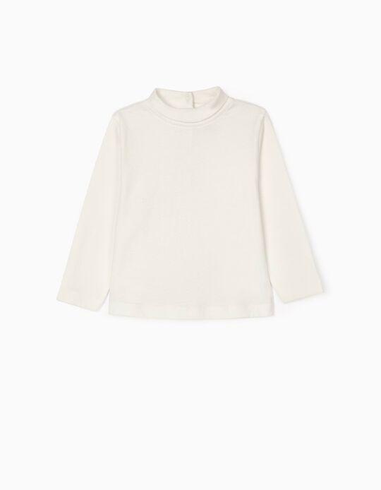Camiseta de Manga Larga e Cuello Alto para Bebé Niña, Blanco