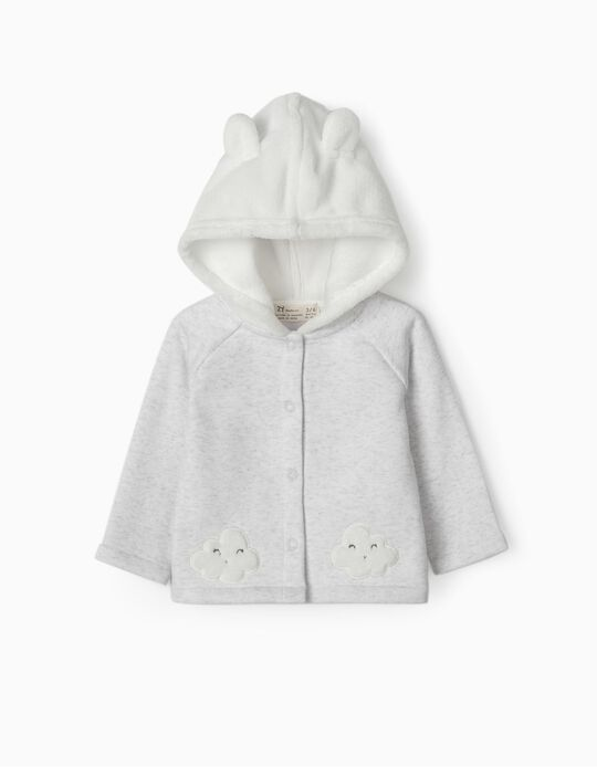 Hooded Jacket for Newborn Girls, 'Cloud', White/Grey