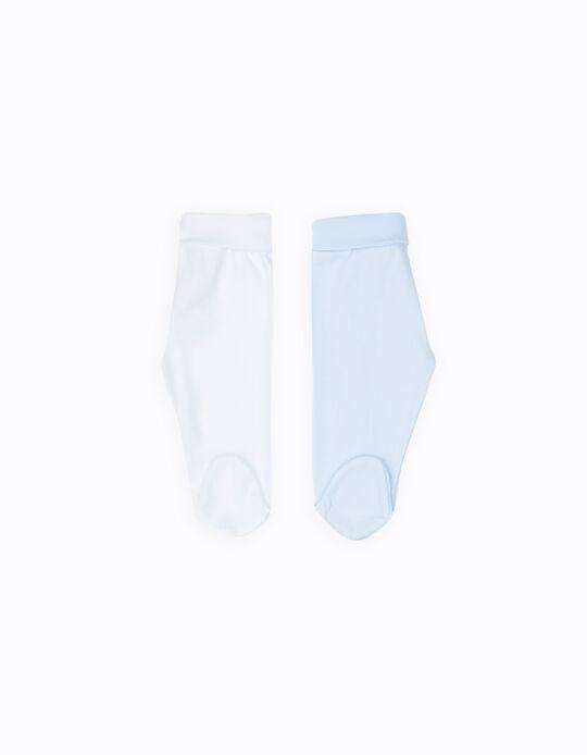 Pack 2 Calças com Pés Azul e Branco