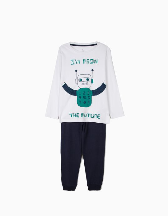 Pijama para Menino 'Robots', Branco e Azul Escuro