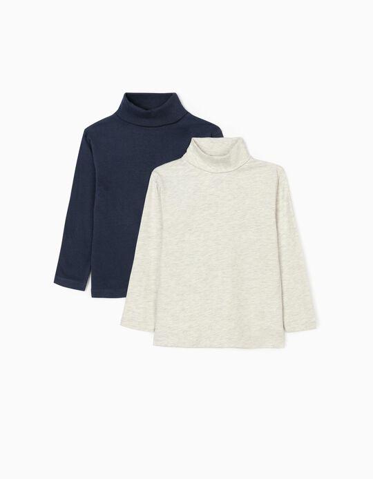 2 Turtleneck Shirts for Boys, Beige/Dark Blue