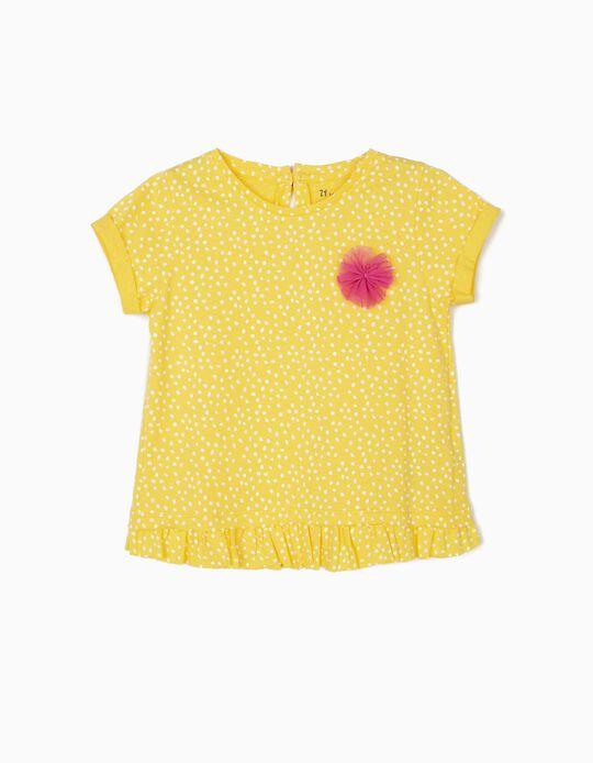 Camiseta para Bebé Niña 'Lunares', Amarilla