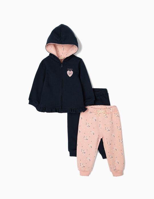 Chándal con 2 Pantalones para Bebé Niña 'Cute', Azul/Rosa