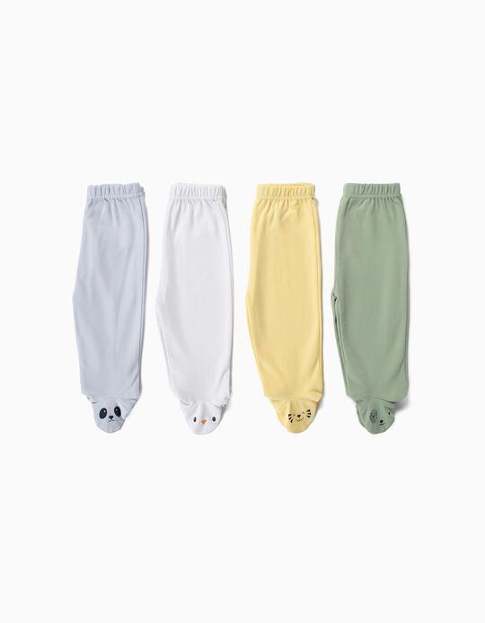 4 Pantalones con Pies para Bebé Niño 'Animals', Multicolor