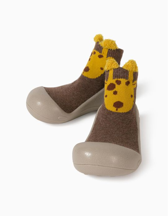 Non-Slip Slipper Socks for Babies 'Giraffe', Brown