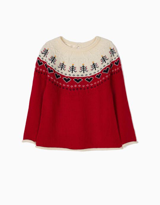 Camisola de Malha Corações Branca e Vermelha