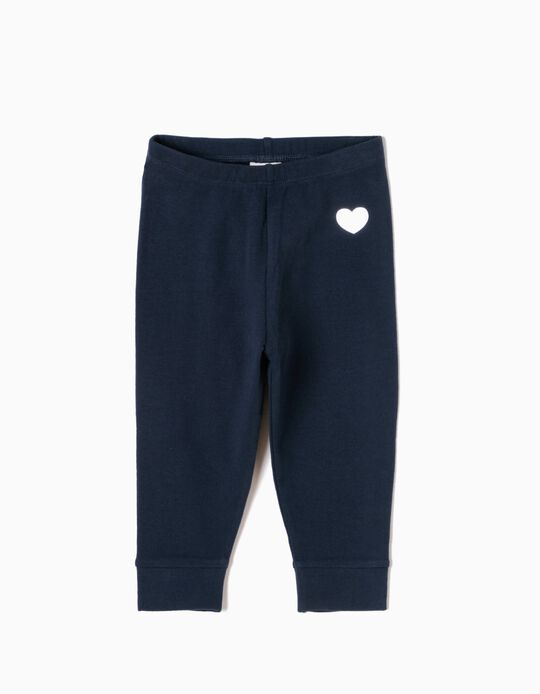 Leggings com Coração Azuis