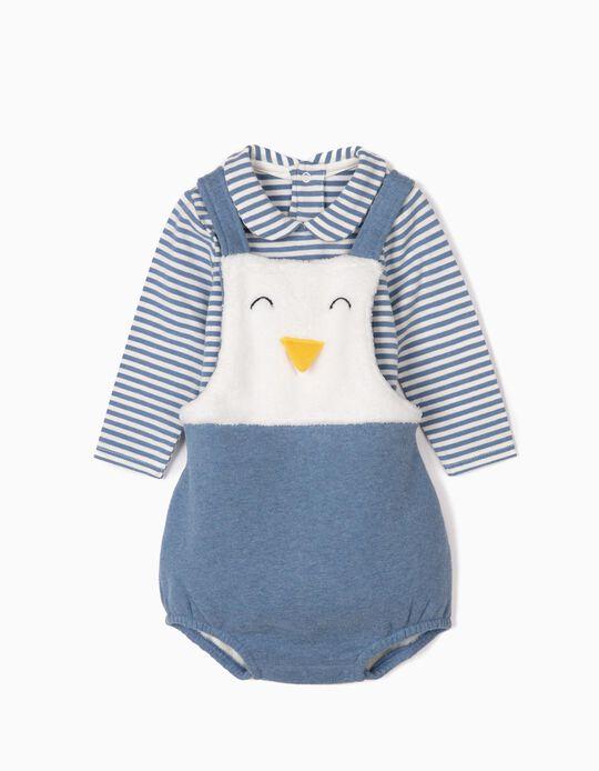 Mono y Body para Recién Nacido 'Cute Penguin', Azul/Blanco