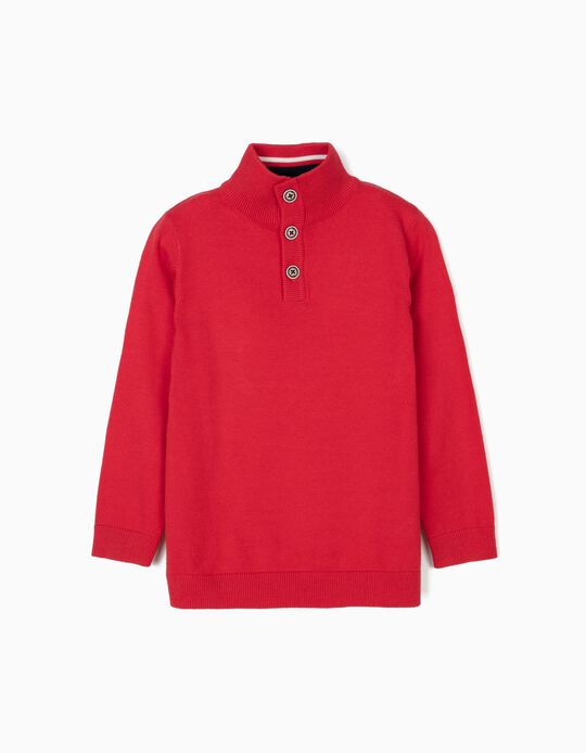 Camisola de Malha para Menino com Gola Alta e Cotoveleiras, Vermelho