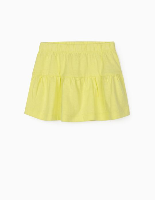 Jersey Knit Skirt for Baby Girls, Lime Yellow
