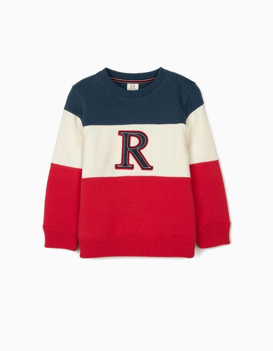 Sweatshirt para Menino 'R', Azul/Branco/Vermelho