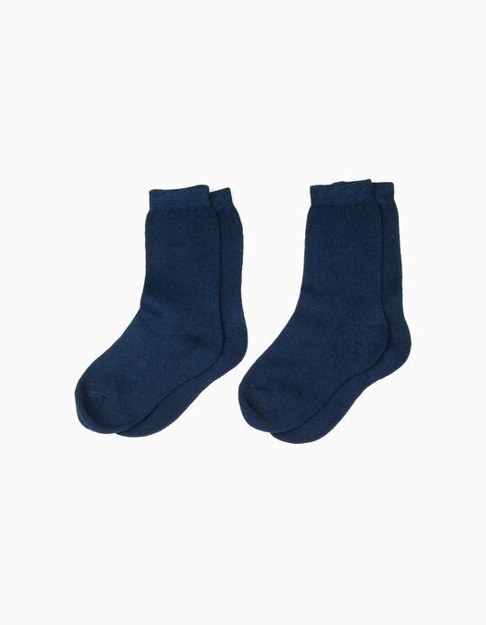 Pack 2 Pares de Calcetines de Algodón Azul Escuro