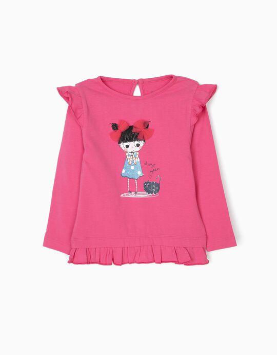 T-shirt de Manga Comprida para Bebé Menina com Folhos, Rosa