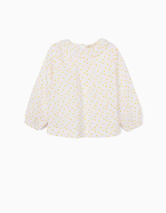 Blusa para Bebé Menina 'Dots', Branco/Amarelo