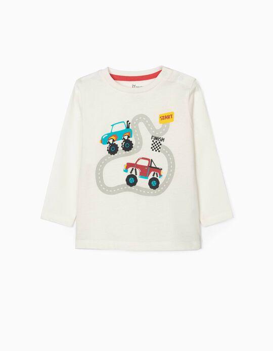 T-shirt Manga Comprida para Bebé Menino 'Trucks', Branco