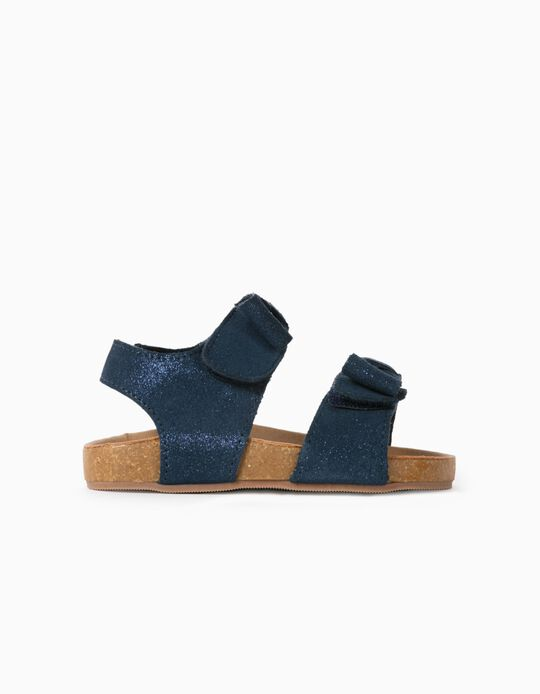 Shiny Suede Sandals for Baby Girls, Dark Blue