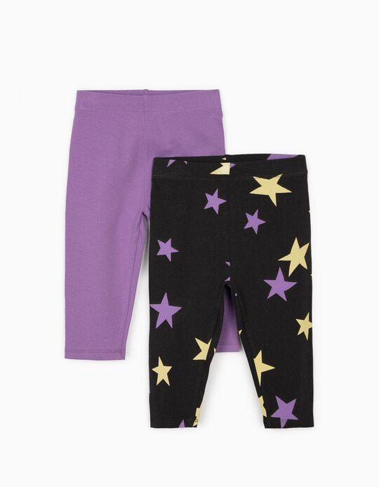 2 Leggings Capri para Niña 'Stars', Gris Oscuro/Morado