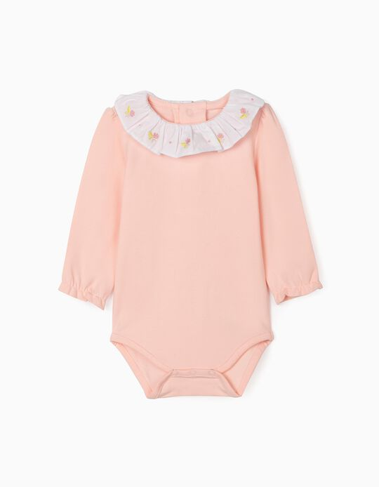Bodysuit with Embroideries for Newborn Baby Girls, Pink