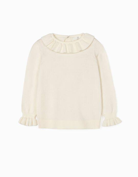 Camisola de Malha com Folhos para Menina, Branco