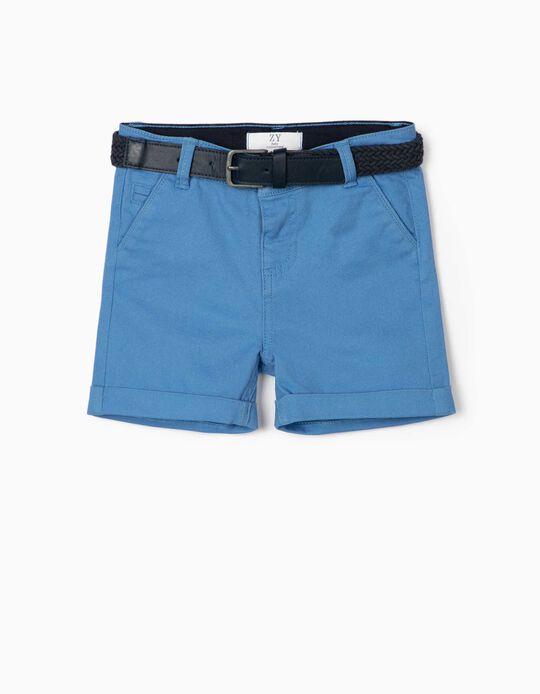 Short Chino con Cinturón para Bebé Niño, Azul