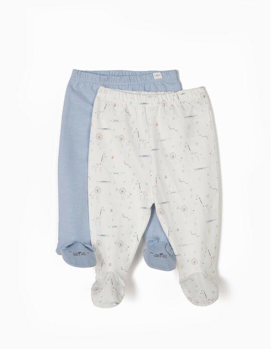 2 Pantalón con Pies para Recién Nacido 'Animals', Azul y Blanco