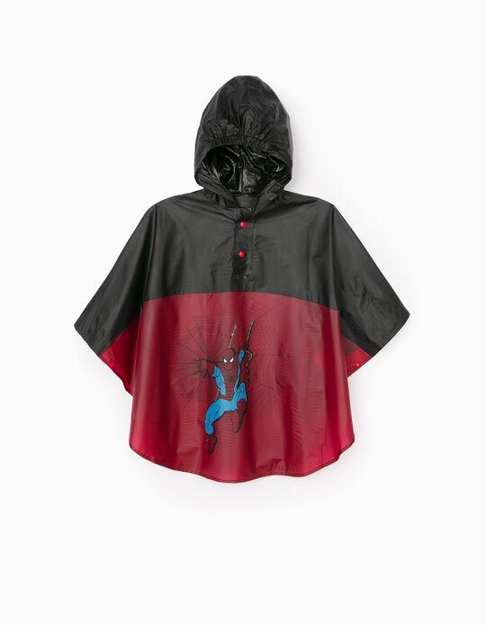 Poncho Rain Cape for Boys 'Spider-Man', Black/Red