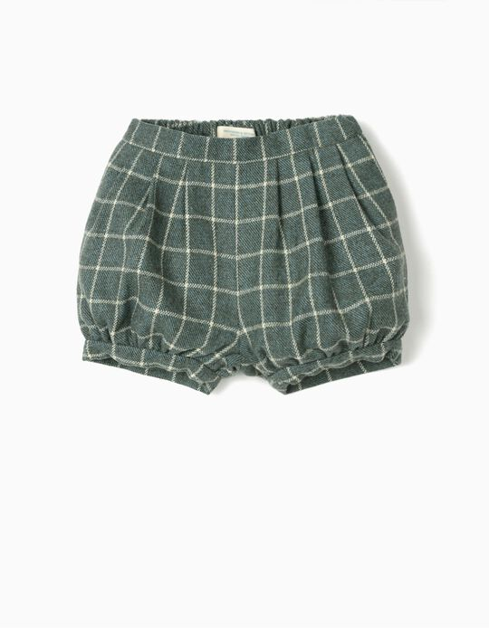 Plaid Shorts for Baby Girls 'B&S', Green