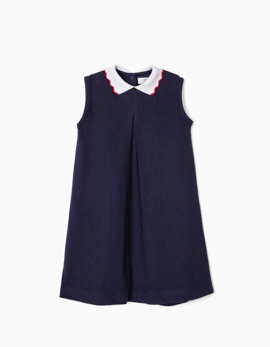 Vestido de Punto Piqué para Niña, Azul Oscuro