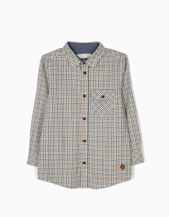 Camisa Ajedrez con Bolsillo Blanca
