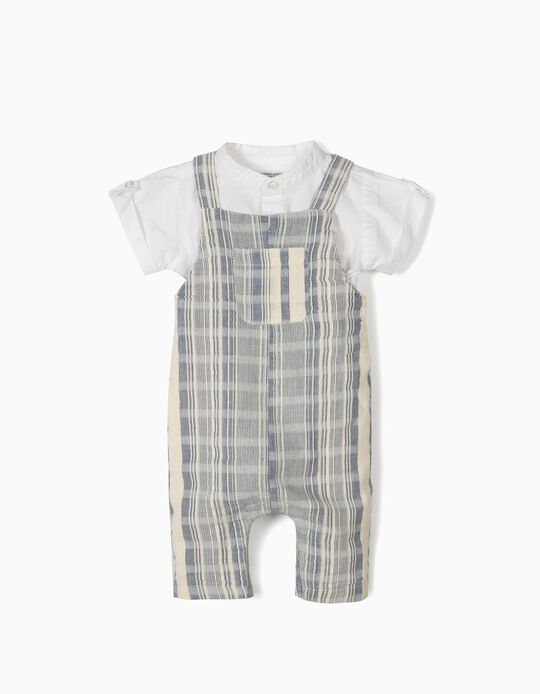 Jumpsuit & Shirt Bodysuit for Newborn Baby Boys, 'B&S', White