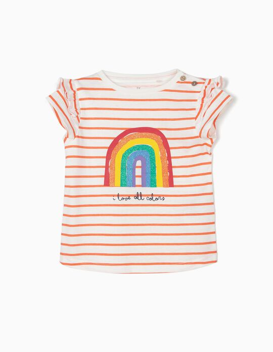 Camiseta para Bebé Niña 'All Colors', Blanca y Naranja