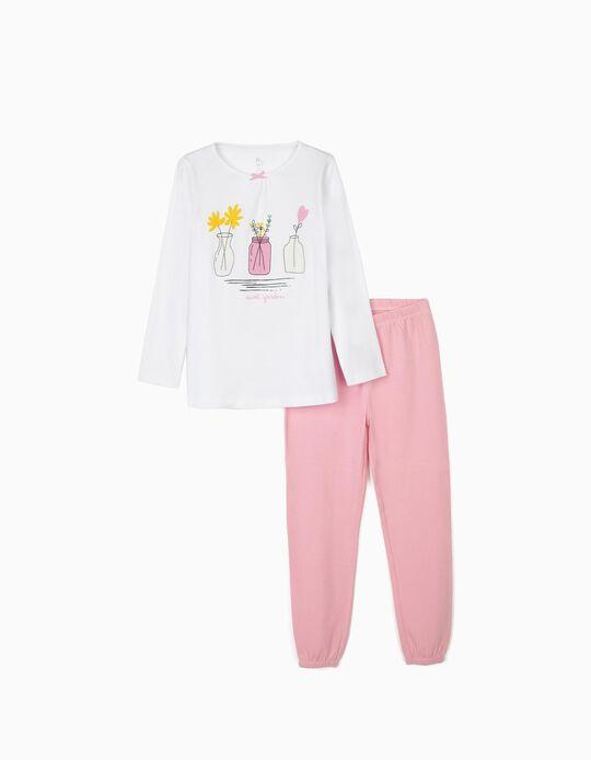 Pijama Manga Larga para Niña 'Sweet Garden', Blanco/Rosa